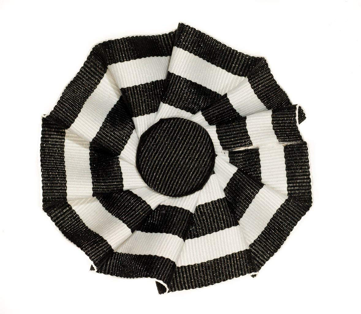Federalist Ribbon Cockade Black White Stripe Hat Trim with Brooch Pin Back