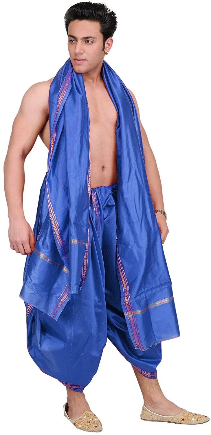 Exotic India Dhoti and Angavastram set with Golden Woven Paisley on Border SPC39--beetroot-purple