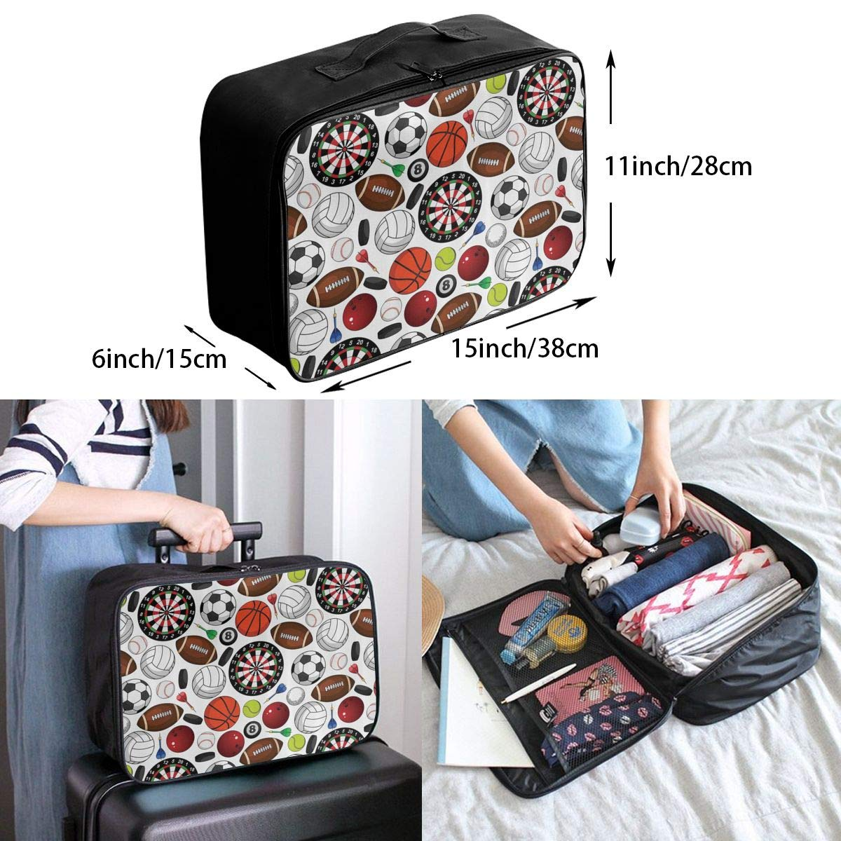 Sports Decor Collection Pattern Travel Lightweight Waterproof Folding Storage Carry Luggage Duffle Tote Bag Large Capacity In Trolley Handle Bags 6x11x15 Inch