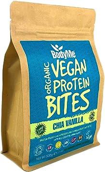 BodyMe Orgánica Proteínas Veganas Mordeduras De Bocados | Cruda Chia Vainilla | 500g | 100 Mordeduras | Con 3 Proteínas Vegetales