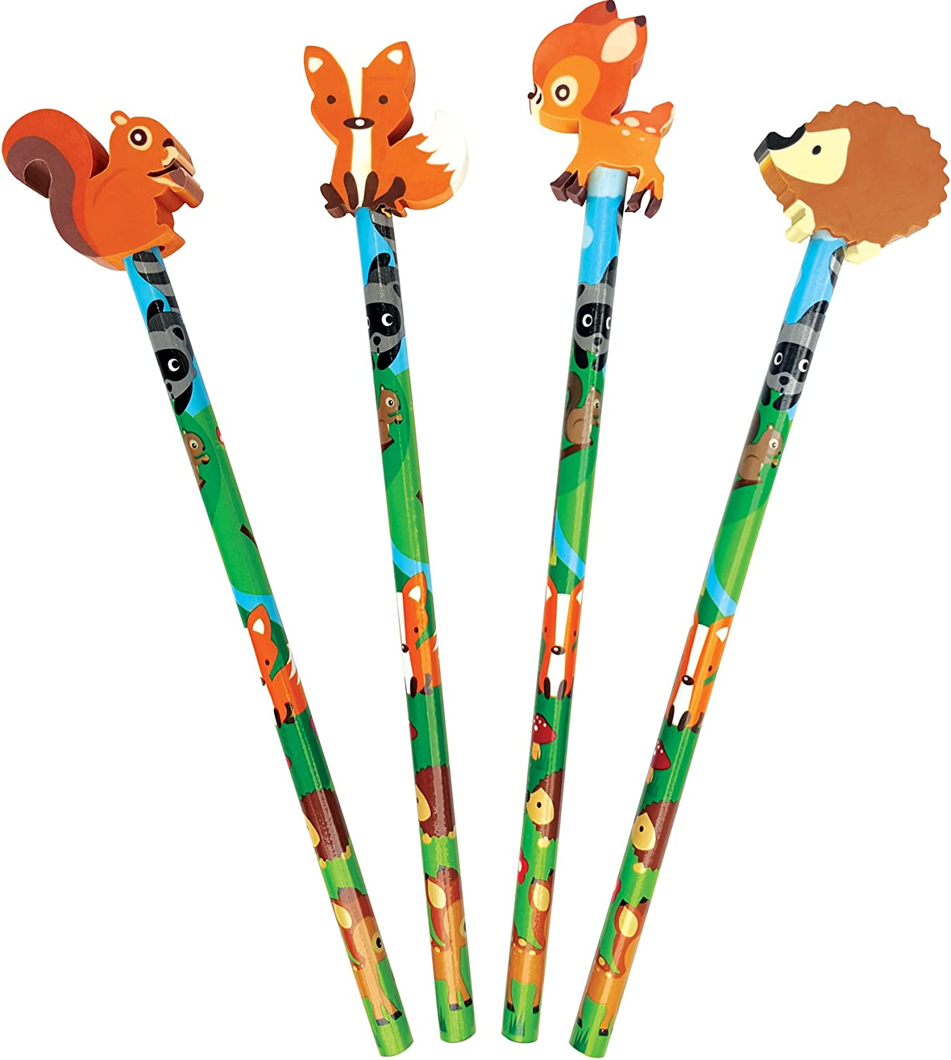 The Piggy Story Fox /& Woodland Animals Set of 4 Pencils with Die-Cut Eraser Toppers