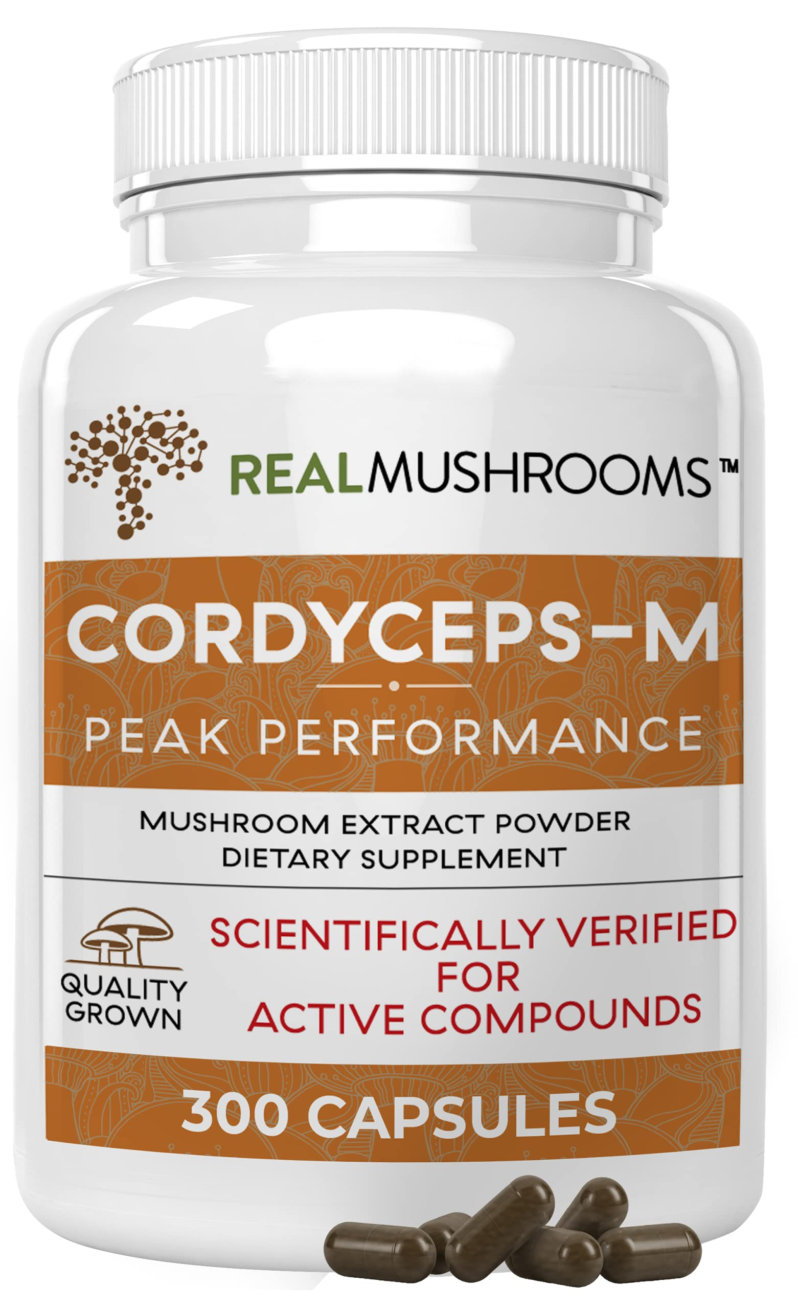 Cordyceps-M Peak Performance Supplement for Energy, Stamina, Endurance (300ct) Vegan Cordyceps-M Supplement for Immune Support, Non-GMO, Verified Levels of Beta-Glucans (150 Day Supply)