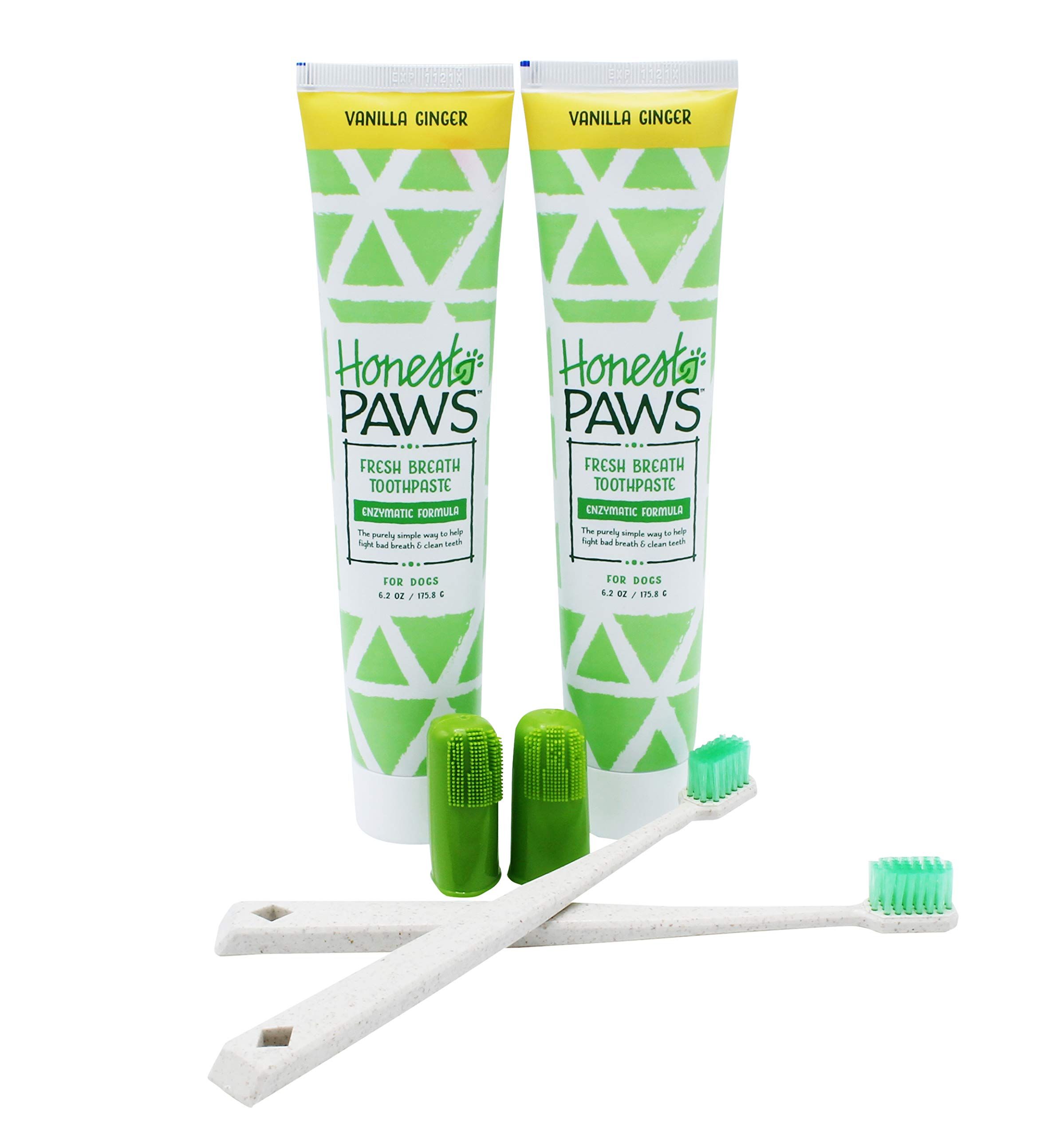 Honest Paws Natural Dog Dental Care Training Kit in Vanilla Ginger Flavor, Pack of 2   Includes Dog Toothpaste, Dog Toothbrush, and Finger Brush by Honest Paws