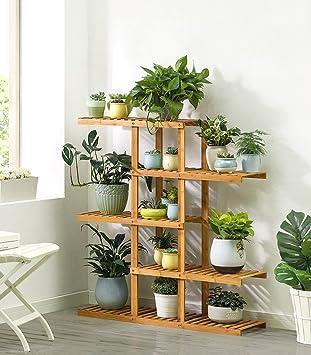 Étagère Dans Le Salon Chambre Cuisine 5 Tiers Bambou Fleur / Plantes /  Étagère Jardin Plante Affichage Pour ...