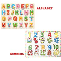 LazyToddler Educational Wooden Alphabets and Number Board for Kids with Knob, A-Z Alphabets and 1-10 Numbers Set of 2 (Alphabet & Number Set)