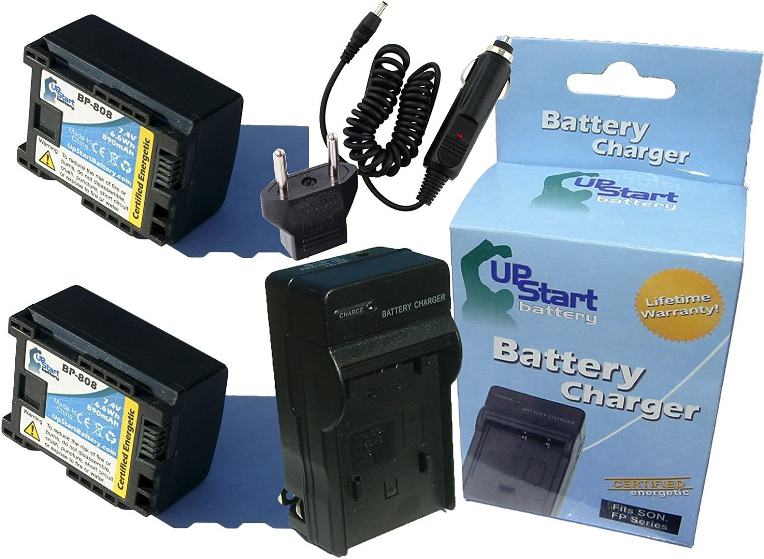 Compatible with Canon BP-808 Digital Camcorder Battery and Charger 2 Pack Replacement for Canon FS400 Battery and Charger with Car /& EU Adapters Decoded 890mAh 7.4V Lithium-Ion