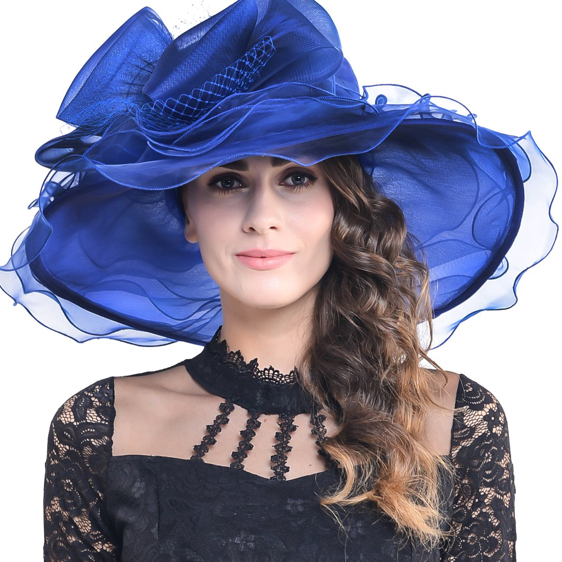FORBUSITE Lady's Organza Ascot Wedding Wide Brim Hat with Plump Flower S019C-Black