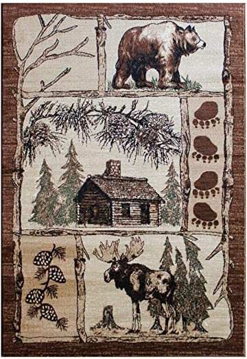 Cabin Area Rug Design Lodge 362 7 Feet 7 Inch X 10 Feet 6 Inch