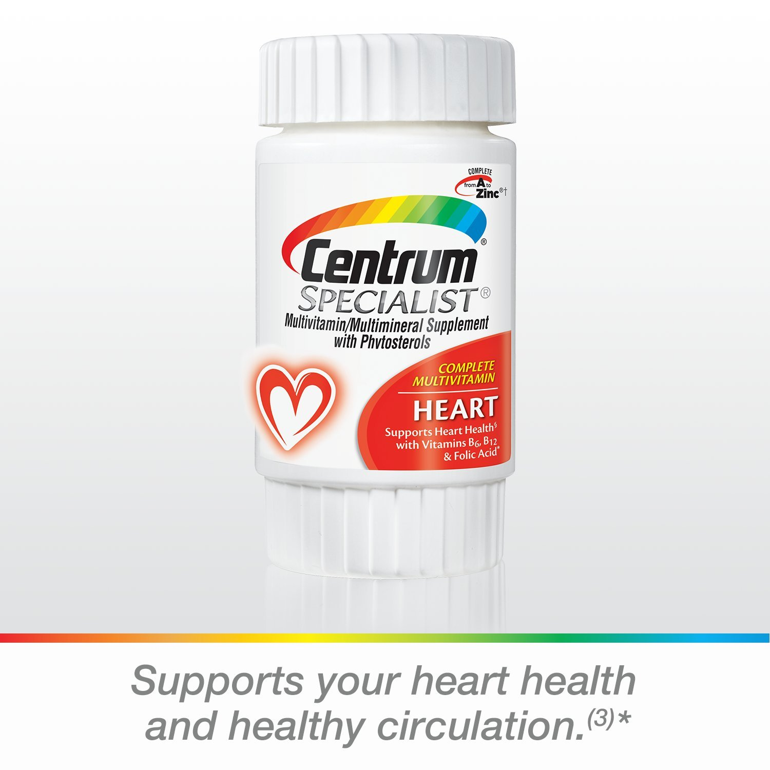 Amazon.com: Centrum Specialist Heart Adult (60 Count) Multivitamin/Multimineral Supplement Tablet, Vitamin D3, C, B-Vitamins with Phytosterols: Prime Pantry