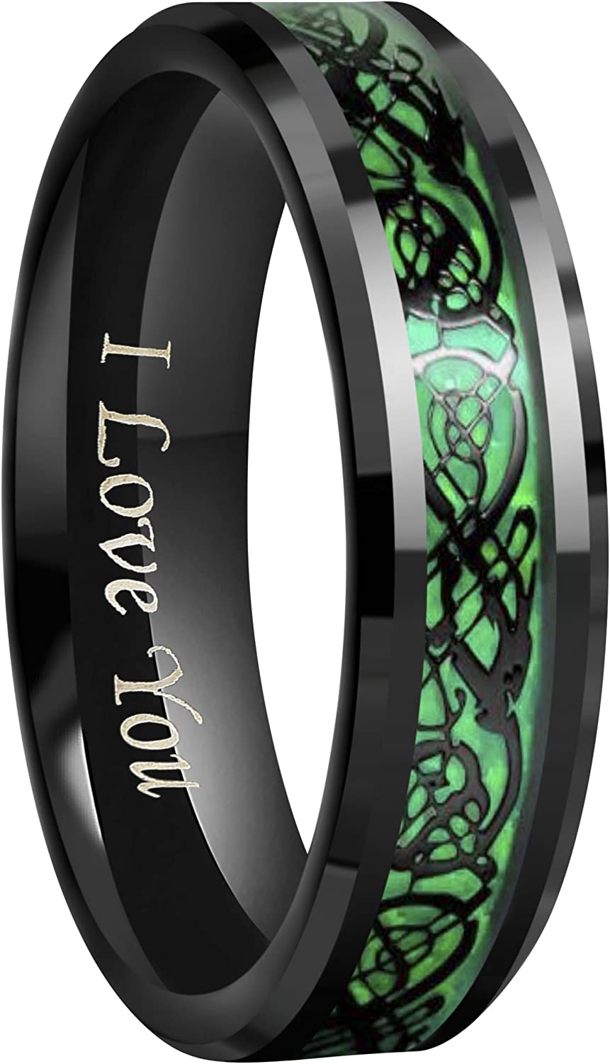 "Crownal 6mm 8mm Green Carbon Fiber Black Celtic Dragon Tungsten Carbide Wedding Band Ring Engraved""I Love You"" Size 4 To 16"