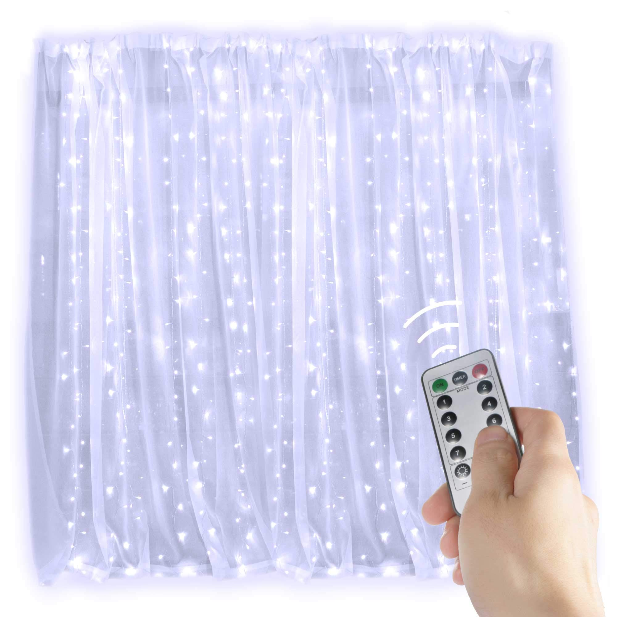 Brightown String Lights Window Curtain,300 LED Icicle Fairy Twinkle Starry Lights with Remote and Timer-UL Listed for Indoor and Outdoor, Wedding, Home Bedroom Wall Decoration, Party (Pure White) by Brightown