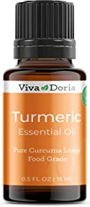 Viva Doria 100% Pure Turmeric Essential Oil, Undiluted, Food Grade, Turmeric Oil, 0.5 Fluid Ounce (15 mL) Natural Aromatherapy Oil