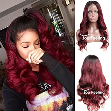 Amazon.com   TopFeeling Ombre Brazilian Hair  1B Red Body Wave Glueless Human  Hair Lace Front Wigs Black Women Ombre Wig Full Lace Front Wigs With Baby  Hair ... 9c387a1328