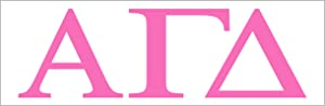 """Pro-Graphx Alpha Gamma Delta Sticker Greek Sorority Decal for Car, Laptop, Windows, Officially Licensed Product, Girls College Group Monogram Design 2.5"""" Tall - Pink"""