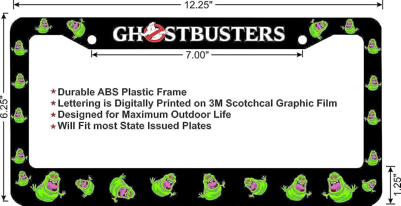 LOHIGHH Ghostbusters Slimer Full Decal Wrap Custom Black Metal License Plate Frame 12 X 6