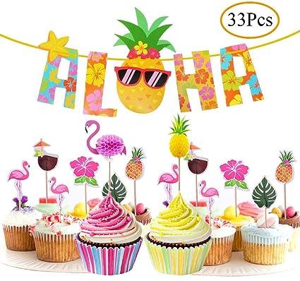 33Pcs Hawaiian Luau Tropical Cupcake Toppers Aloha Banner For Summer Flamingo Birthday Party Cake