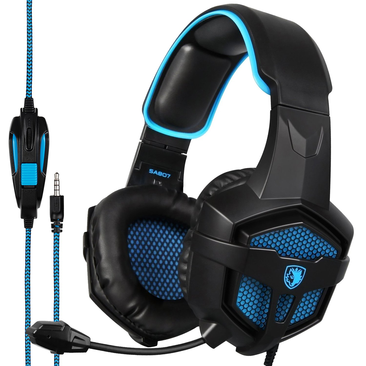 Sades SA807 Stereo Gaming Headsets Over Ear Heaphones With Microphone Noise Isolating For New Xbox one PS4 PC Laptop Mac iPad Mobile(Black & Blue)
