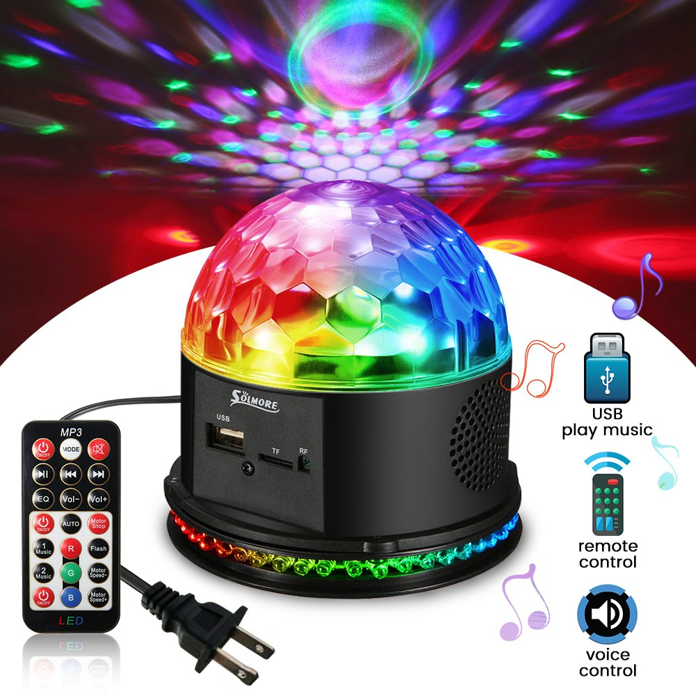 SOLMORE Disco Lights for Parties Sound Activated Strobe Light Disco Ball Dj Lights 7Colors Disco Party Lights Show for Parties Wedding DJ Karaoke Outdoor Gift with Remote