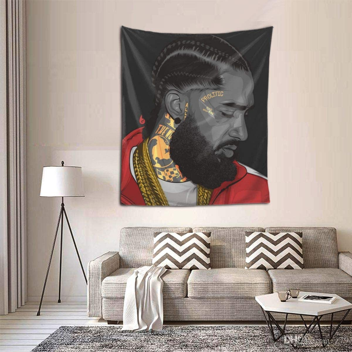 Nipsey-Hussle Tapestry Wall Hanging Tapestries Modern Wall Blanket Wall Art For Living Room Bedroom Home Decor,60X51 Inches