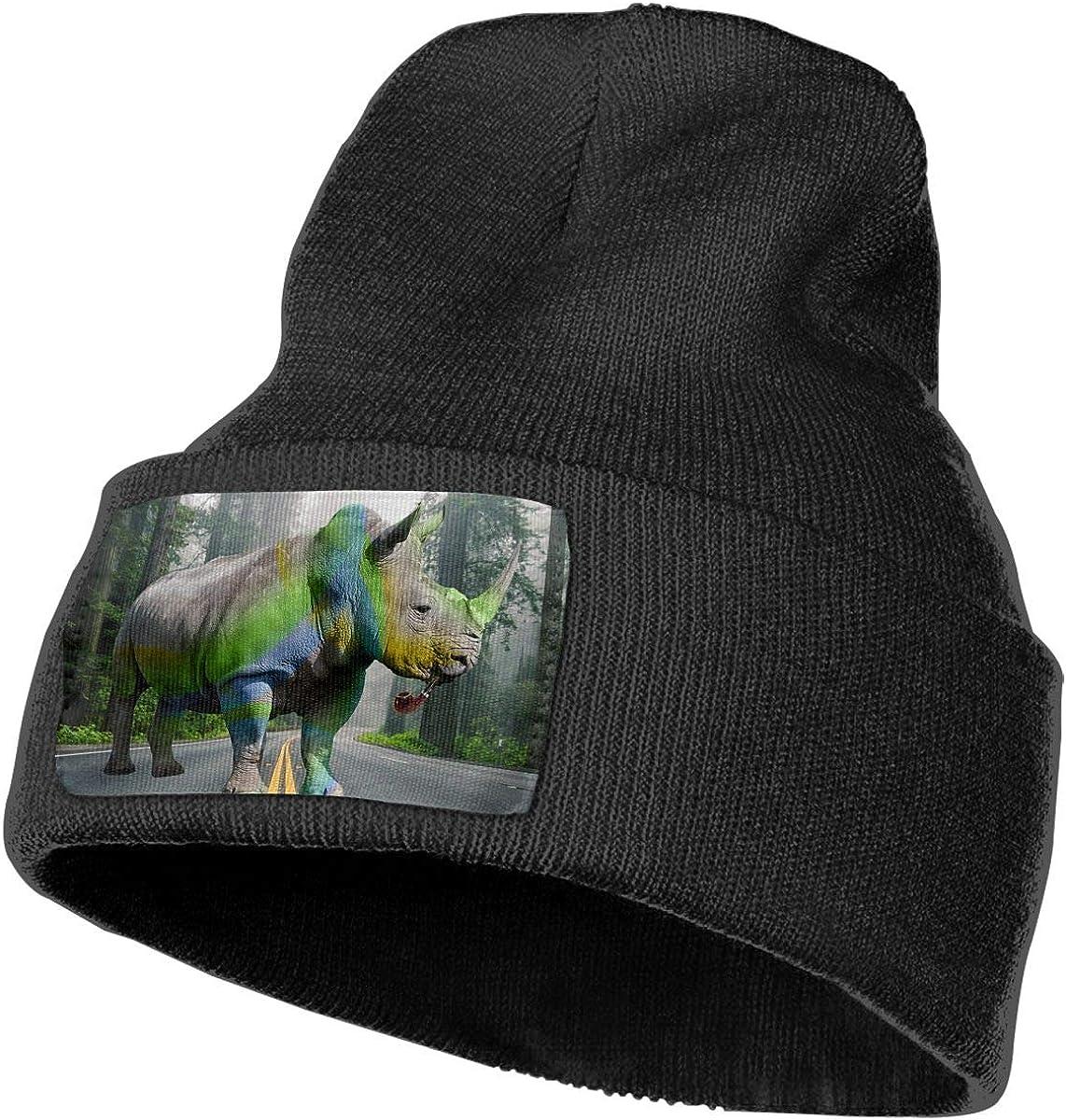 Rhino Pipe Smoking Men/&Women Warm Winter Knit Plain Beanie Hat Skull Cap Acrylic Knit Cuff Hat