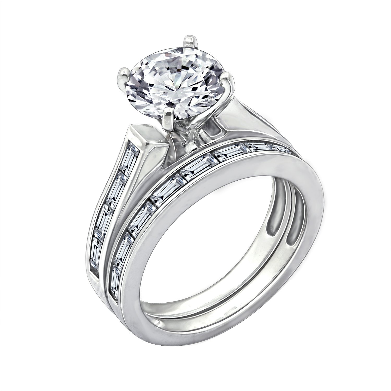 745821357a3 Amazon.com  Diamonbliss Sterling Silver Cubic Zirconia Round Baguette  Wedding Set Ring  Jewelry