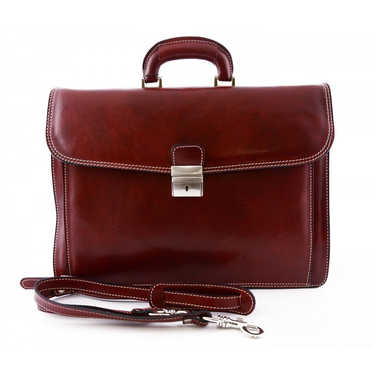 Made In Italy Leather Briefcase Color Red - Business Bag   B018W36QDG