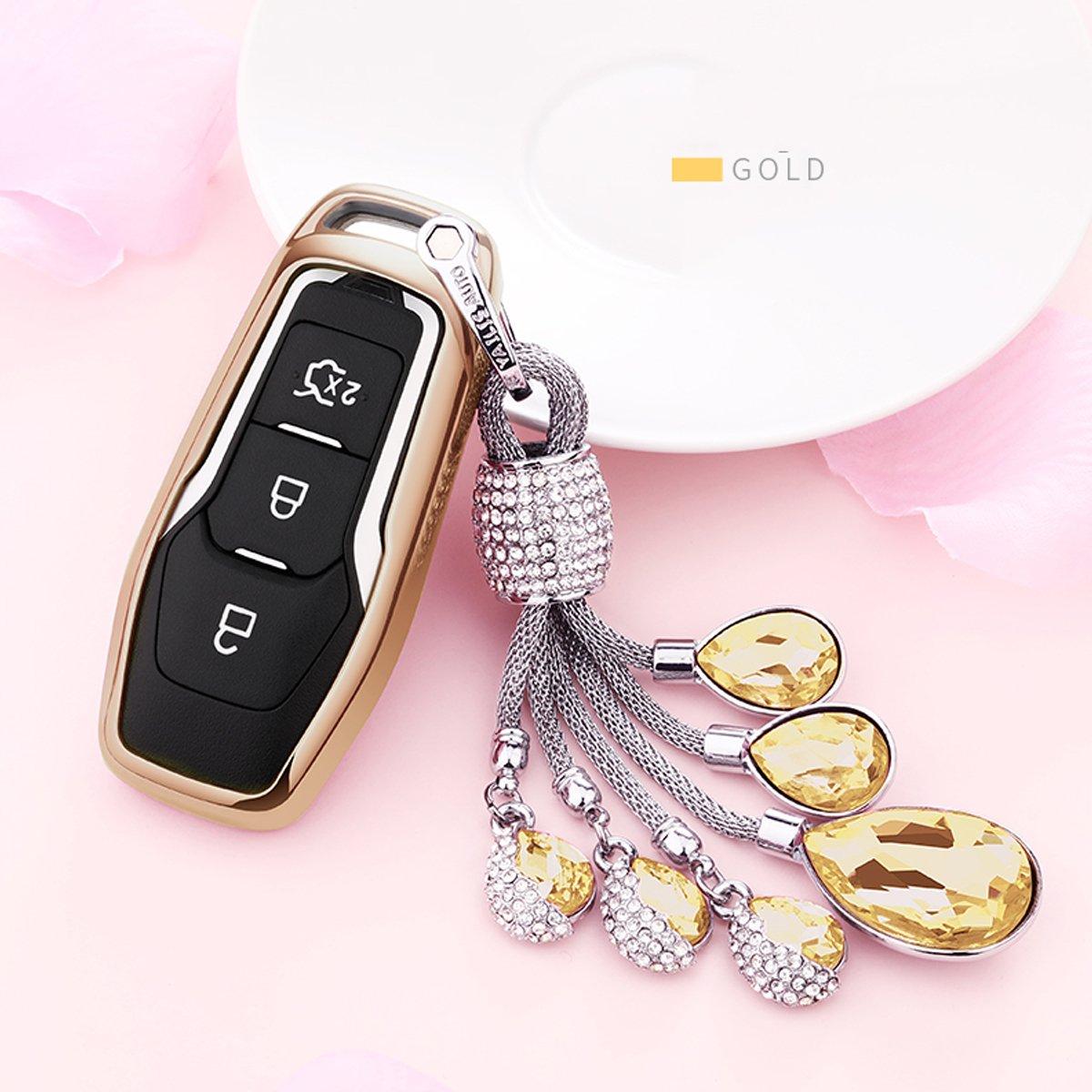 カイゼンキーレスエントリーリモートキーFobカバーソフトTPUケースwithダイヤモンドタッセルキーチェーンfor Ford MustangモンデオGalaxy Edgeレンジャー3-buttonsスマートキー Smart key cover+tassel keychain TPUKC310 B07CN82TQX Smart key cover+tassel keychain|ゴールド ゴールド Smart key cover+tassel keychain