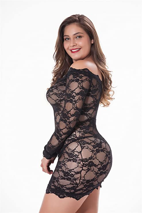 c11fa0959 LINGERLOVE Womens Plus Size Sexy Lingerie Chemise Floral Lace Badydoll Off  Shoulder Sleepwear at Amazon Women s Clothing store