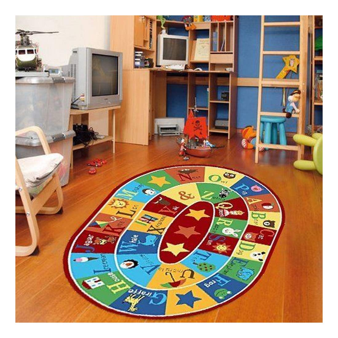 ABC with Animals 6 X 9 Children Area Rug Anti Skid Actual Oval Size S 6 x 9 2 Furnishmyplace – 745