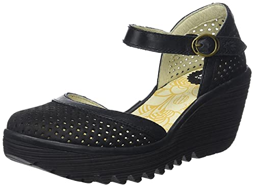 d58dab6bb017  Fly London Yupi840fly Black Womens Leather Wedge Sandals Shoes  Amazon.co. uk  Shoes   Bags