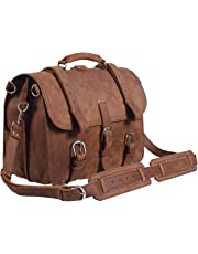 Top Quality Full Grain Leather Briefcase / Shoulder Bag / Messenger Bag / Satchel Fit Laptop Light Brown