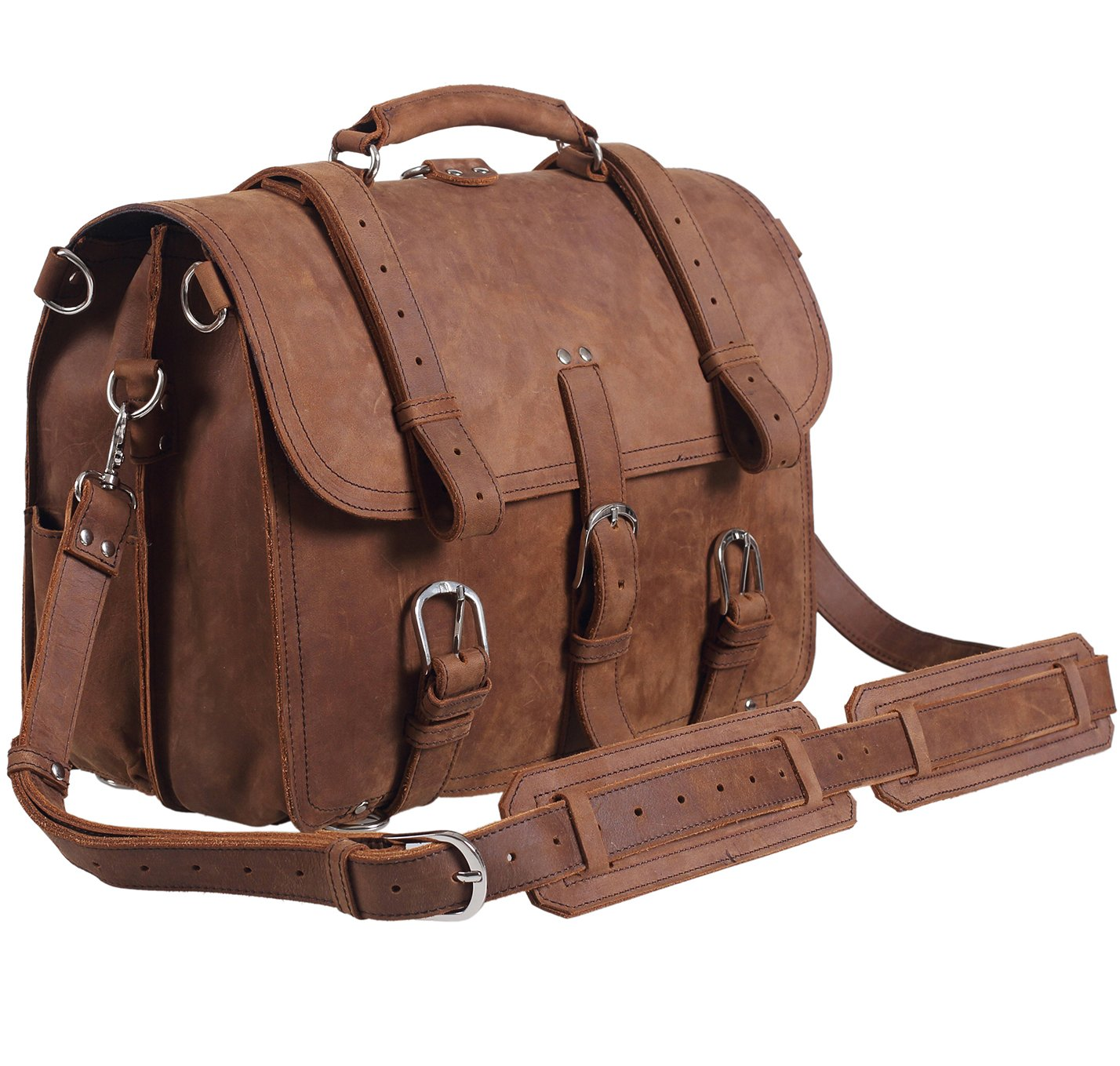Light Brown Polare Men's Full Grain Leather 16'' Laptop Briefcase Shoulder Messenger Bag