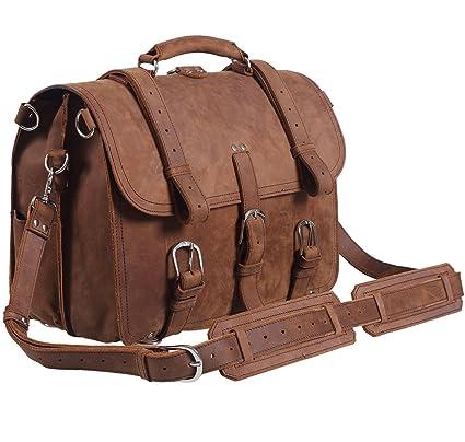Image Unavailable. Image not available for. Color  Polare Men s Full Grain  Leather Briefcase Shoulder Messenger Bag Fit 15.6   Laptop 3b7018288cdf5