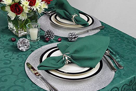 Dark Green Damask Holiday Tablecloth Available in 5 Sizes Machine Washable Polyester