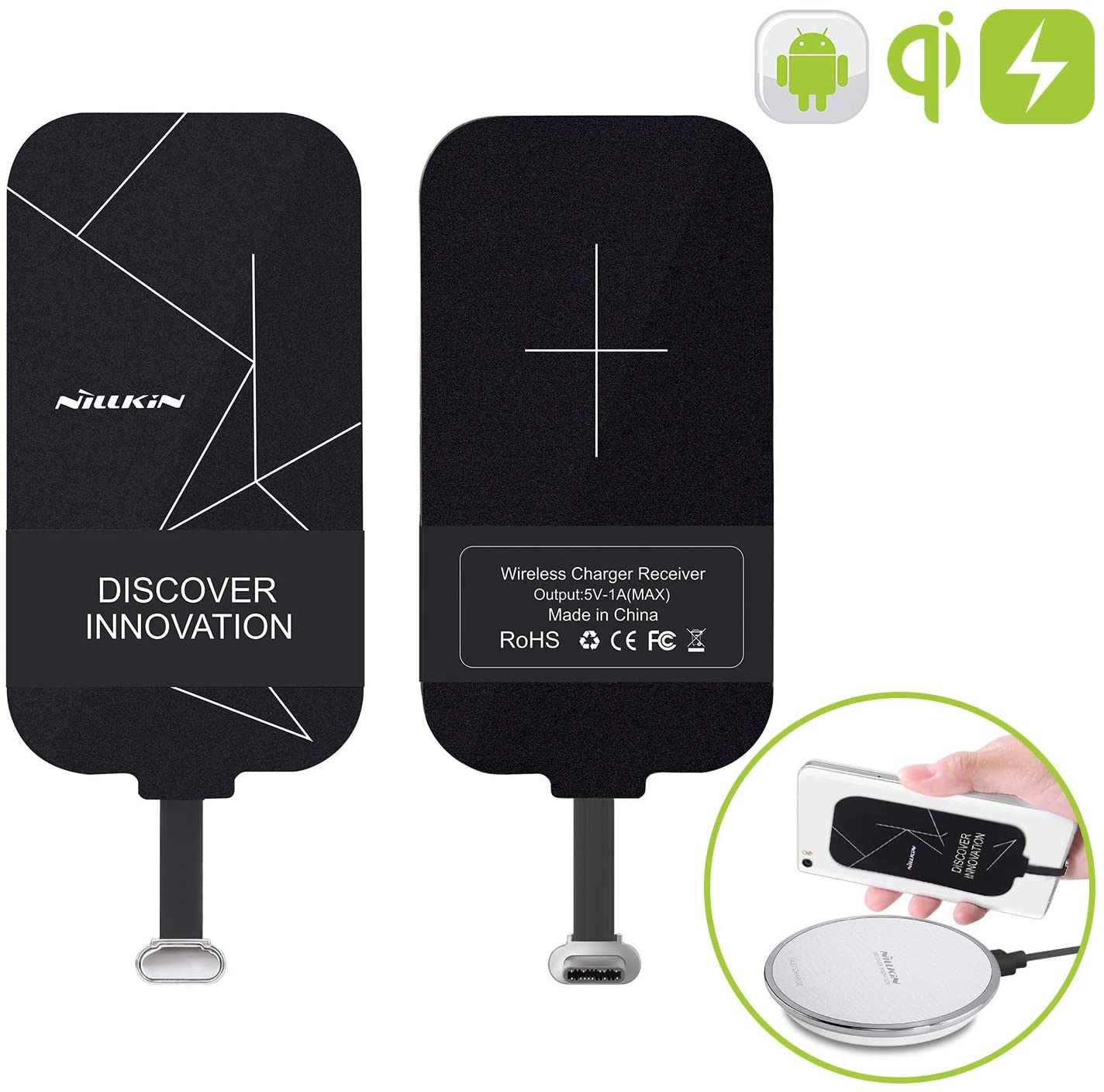 Nillkin Qi Wireless Charger Receiver, Ultra Thin 0.16cm Magic Tag Wireless Charging Receiver Patch Module Chip for Google Pixel 2 XL/LG V20/OnePlus 6/6T/7/7 Pro and Other USB C Phones