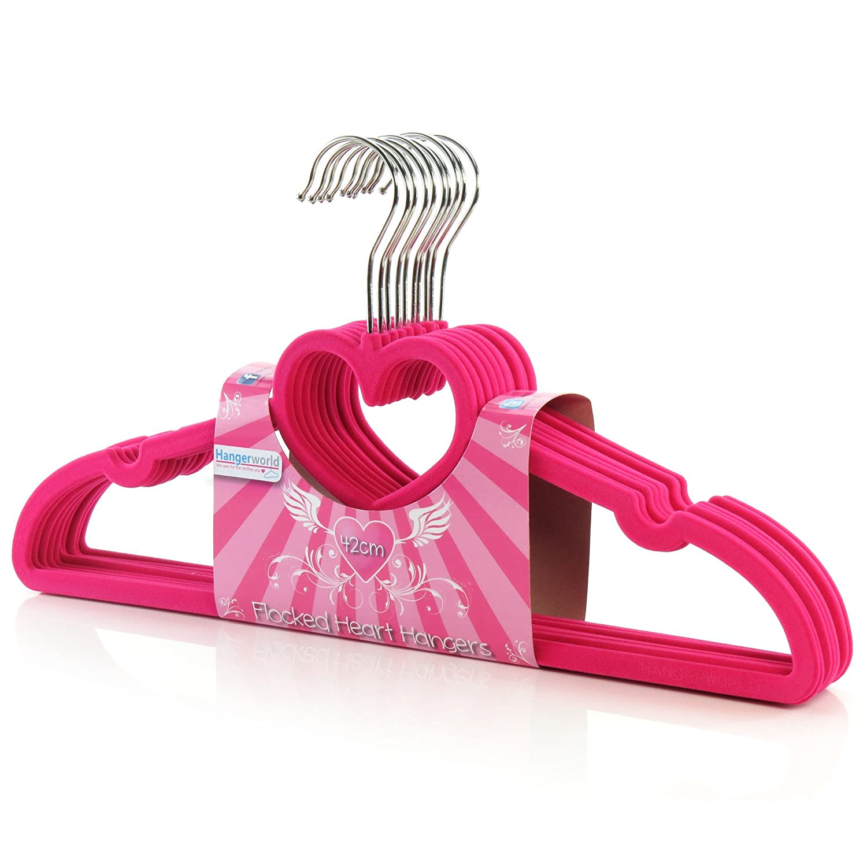 HANGERWORLD 10 Grucce Salvaspazio 42cm a Cuore in Velluto Antiscivolo Rosa con Porta Accessori FH-42-BAR-PINK-HEART_10