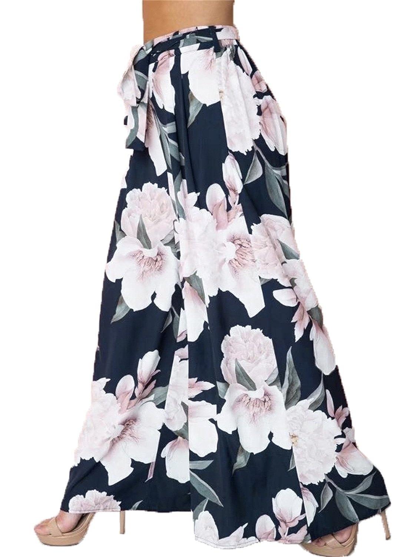 ed47997f773d3c BerryGo Women's Boho High Waist Wide Leg Pants Floral Print Summer Beach  Pants at Amazon Women's Clothing store: