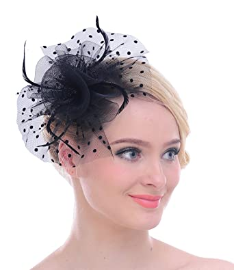 34366478 Vintage Polka Dot Mesh Looped Net Feather Fascinator Derby Cocktail  (Black): Amazon.co.uk: Clothing