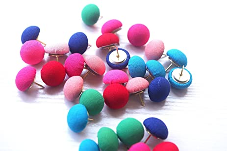 Amazon.com : 30 PCS Fabric Push Pins ThumTacks, Colorful Cute ...