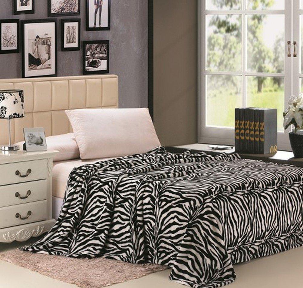 Jungla Animal Print Ultra Soft Black & White Zebra Full Size Microplush Blanket