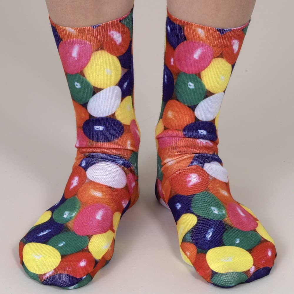 Set of Four Pairs of Sweet Treat Dessert Themed Silly Socks Donut Ice Cream Jelly Bean Cupcake Bits and Pieces Adult Size 6-12