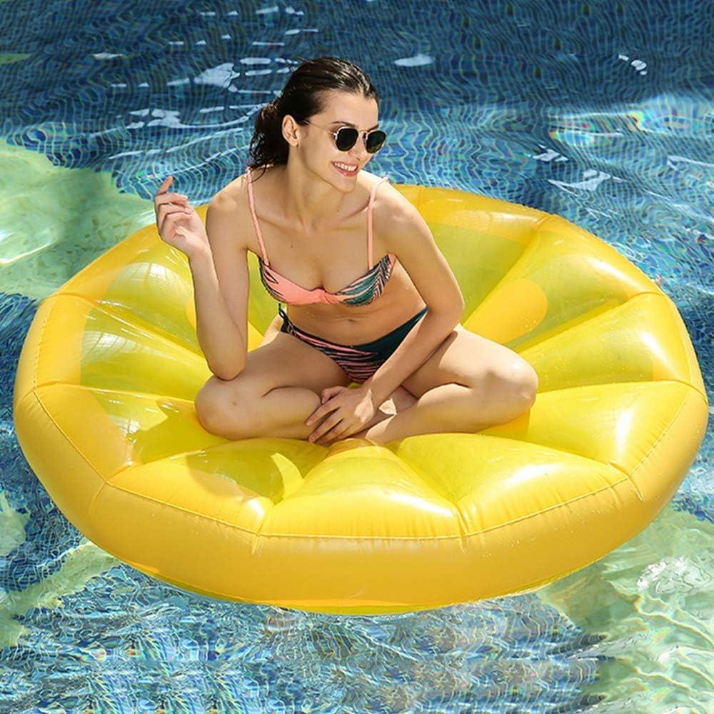 QSBY Limón de Juguete reclinable Alfombra Flotante de Seguridad de la Piscina de natación Durable de la Playa del mar con Tubo Inflable de Verano Camas flotantes inflables Macho Amarillo Hembra