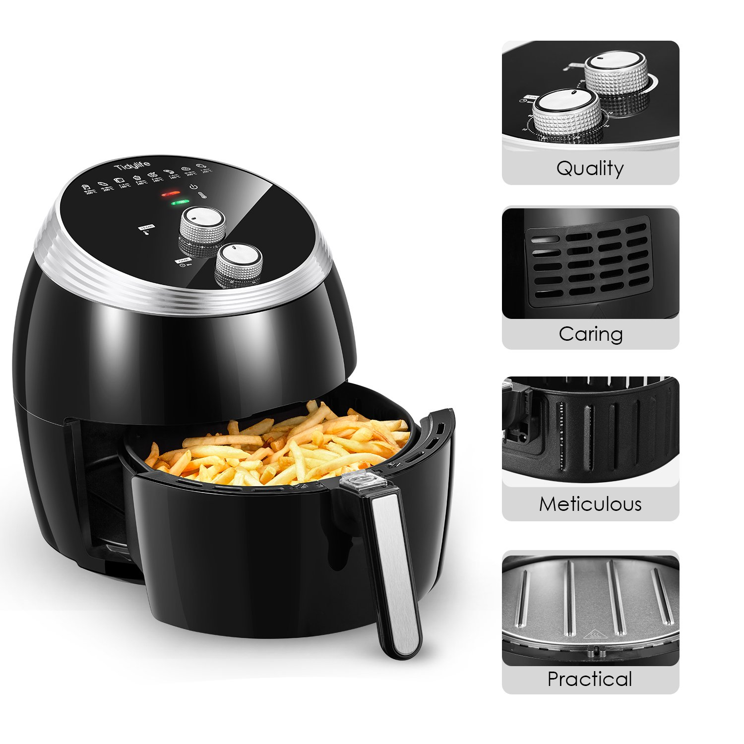 Air Fryer, Tidylife 6.3QT Large Air Fryer, 1700W Oilless XL Oven Cooker, Smart Time and Temperature Control, 7 Cooking Preset, 180-400℉Hot Air Fryer with Non-stick Basket, Auto Shut Off, 50+ Recipes by Tidylife (Image #8)