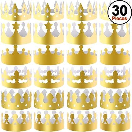 SIQUK 30 Stück Goldpapier Kronen Party King Crown Papierhüte für Party und Feier