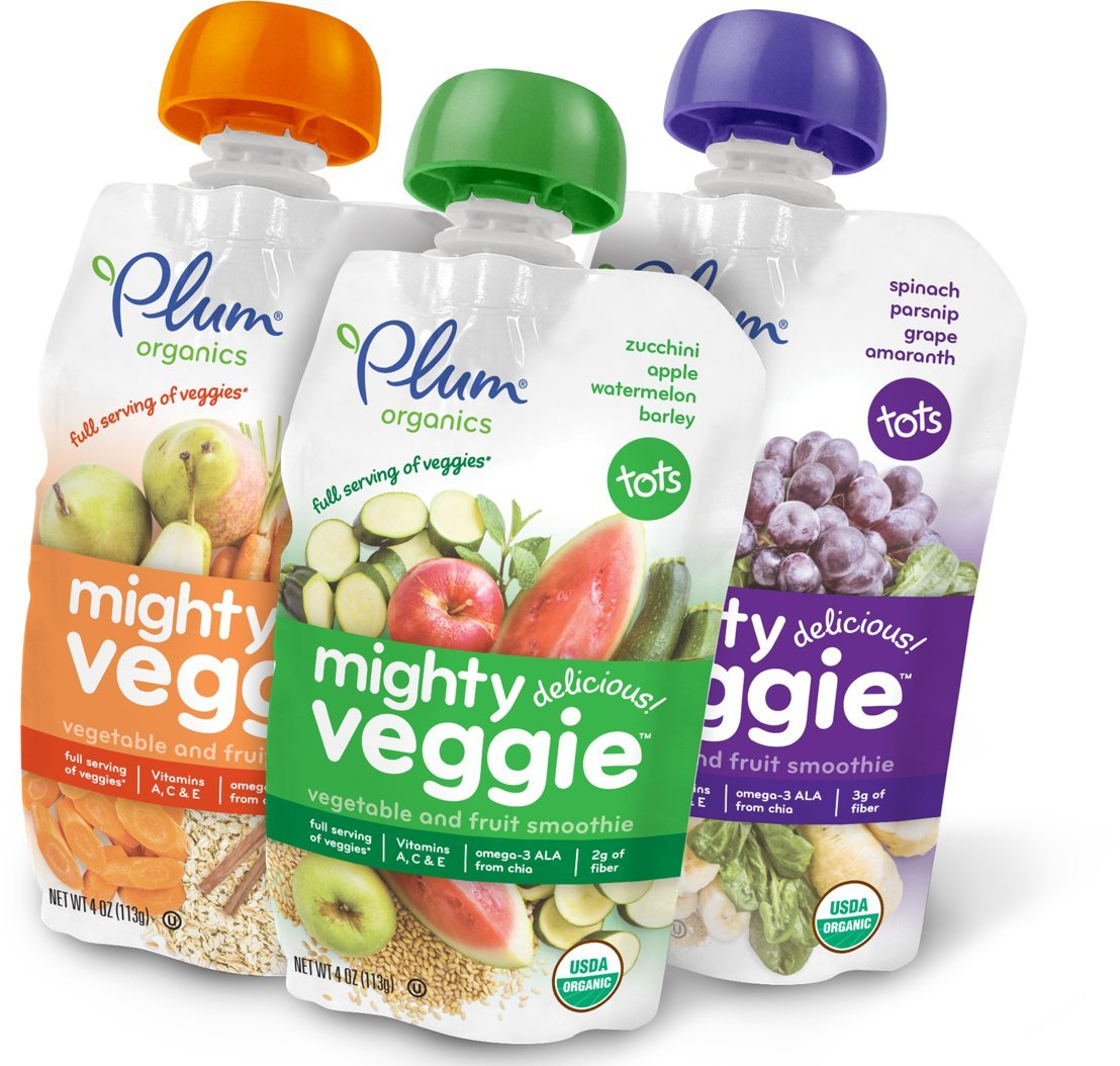 Plum Organics Mighty Veggie, Organic Toddler Food, Variety Pack, 4 ounce pouch (Pack of 18)'' (Packaging May Vary)