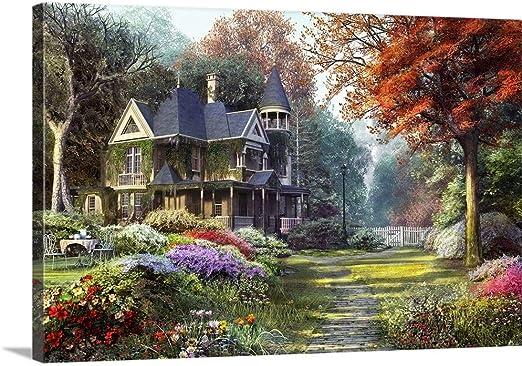 Amazon Com Victorian Garden Canvas Wall Art Print 18 X12 X1 25