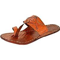 AMPEREUS Men's Leather Kolhapuri Slippers