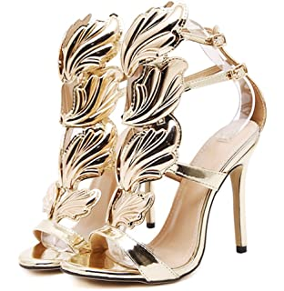 7f393fb9824e00 2017 New Women Pump Sexy Gold Leaf Flame Wings Buckle Strap Open Toe High  Heels Shoes
