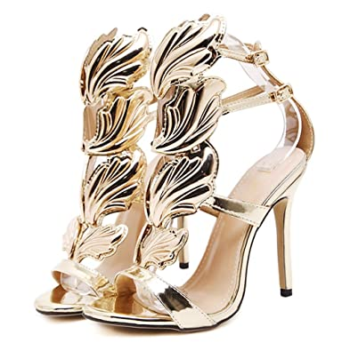2017 New Women Pump Sexy Gold Leaf Flame Wings Buckle Strap Open Toe High  Heels Shoes 80a65f712fb1