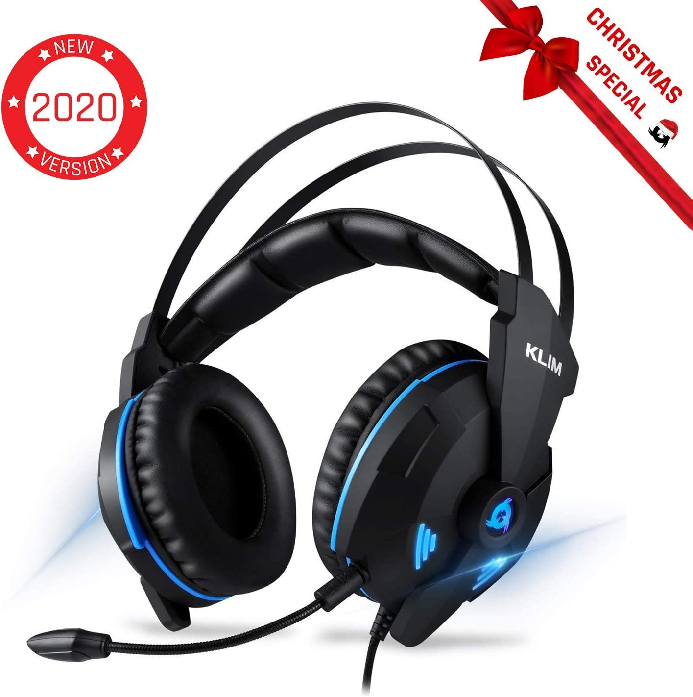 KLIM Impact Gaming Headset – PS4 and PC – USB 7.1 Surround Sound – Noise Cancelling Headphones – Headphone with Microphone and Volume Control – HD Audio, Strong Bass, Mic – Computer Gamer Audifonos